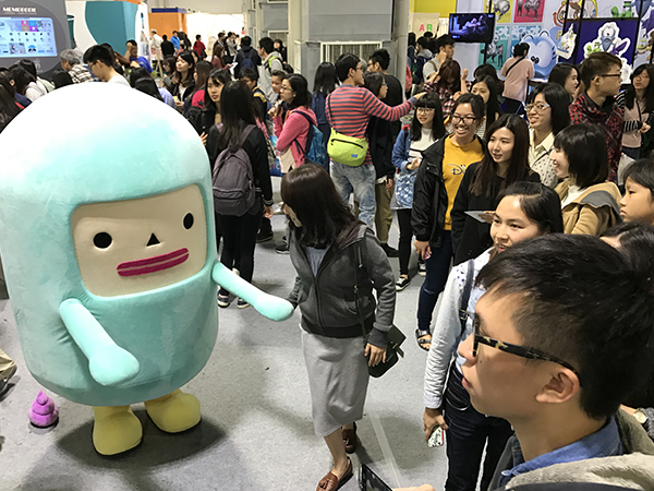 Capsubeans Mascot and its pink poop in Taiwan - Cartoon Character Licensing