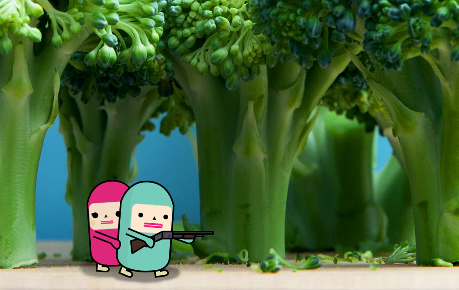 Capsubeans Instagram VR Image - Cartoon Character Licensing Kids - Cute Couple Hunting in broccoli forest - Rikki Mobile