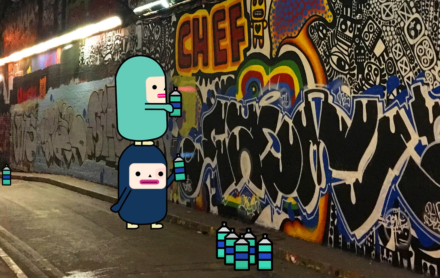 Capsubeans Instagram VR Image - Cartoon Character Licensing Kids - Cute Beans doing street art in Leake Street - Rikki Mobile